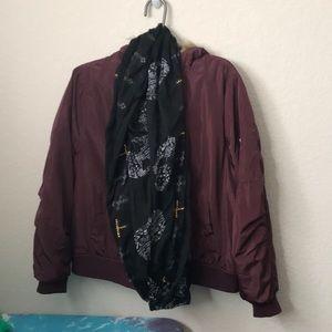 Maroon bomber jacket. Skull &cross scarf included